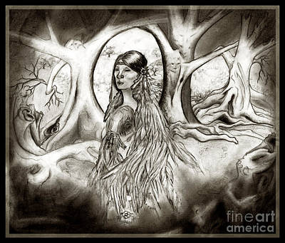 Tears Drawing - The Legend Of Cherokee Rose Trail Of Tears by Janice Moore