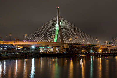 The Leonard P Zakim Bridge Lit Up In Green For St Patrick's Day Reflection Print by Toby McGuire