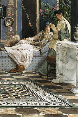 Marble Mosaic Painting - The Letter From An Absent One by Sir Lawrence Alma-Tadema