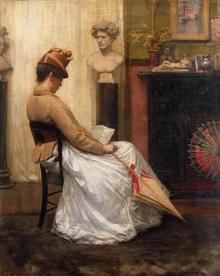 Umbrella Painting - The Letter by Henry John Hudson
