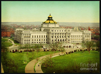 Library Painting - The Library Of Congress Washington 1902 by Celestial Images