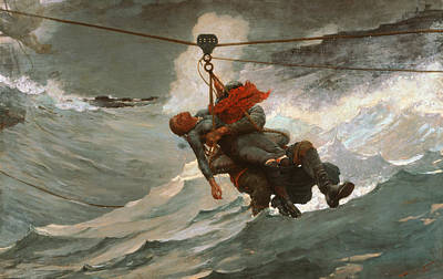 American Artist Painting - The Life Line by Winslow Homer