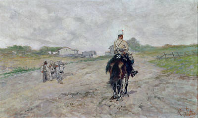 Army Painting - The Light Cavalryman by Giovanni Fattori