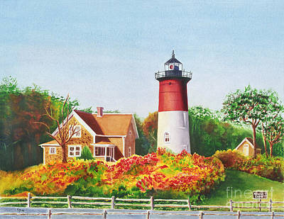 New England Lighthouse Painting - The Lighthouse by Karen Fleschler