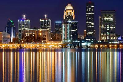 Ohio River Photograph - The Lights Of A Louisville Night by Frozen in Time Fine Art Photography