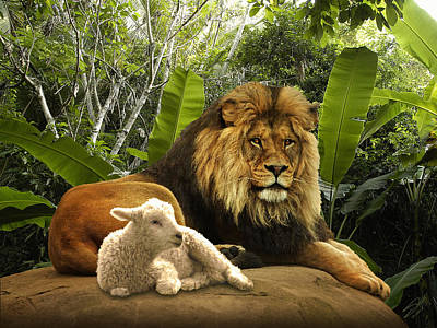 The Lion And The Lamb Print by Matthew Schwartz