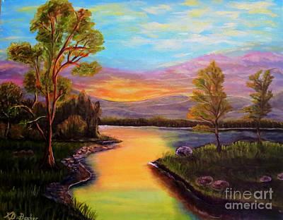 The Liquid Fire Of A Painted Golden Sunset Print by Kimberlee Baxter