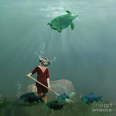 Ocean Turtle Digital Art - The Little Gardener by Martine Roch