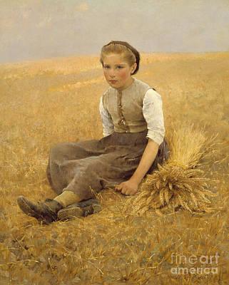 Bushels Painting - The Little Gleaner, 1884 by Hugo Salmson