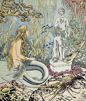 Extinct And Mythical Drawing - The Little Mermaid by Ivan Jakovlevich Bilibin