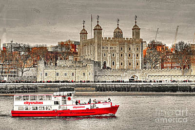Tower Of London Mixed Media - The Little Red Boat And The Tower Of London by Anthony Hedger