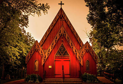 Religious Artist Photograph - The Little Red Church by Art Spectrum