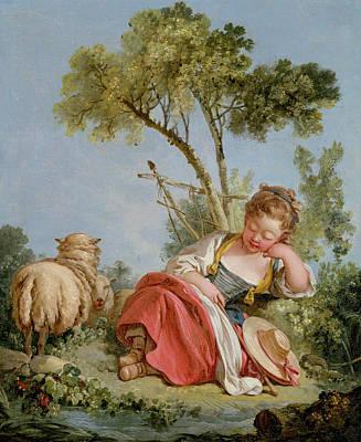 The Little Shepherdess Print by Francois Boucher
