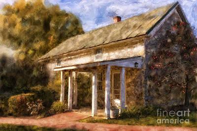 Walkway Digital Art - The Little Stone House In September by Lois Bryan