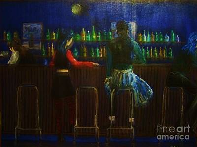 Bar Scene Painting - The Local Bar by Reb Frost