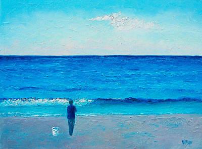 Seascape Painting - The Lone Fisherman by Jan Matson