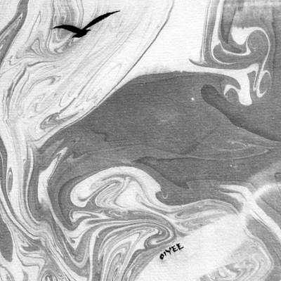 Ink Painting - The Lone Seagull by Oiyee At Oystudio