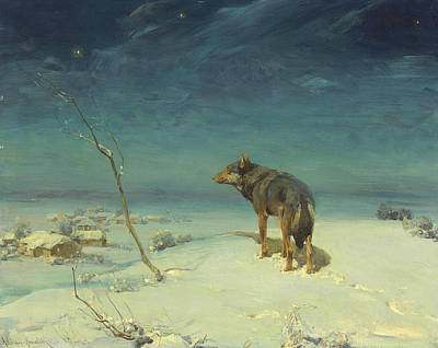 Polish Painters Painting - The Lone Wolf by Alfred Kowalski