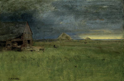 Morning Light Painting - The Lonely Farm by George Inness
