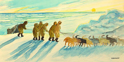 Arctic Dog Painting - The Long Run by Steve Heriot