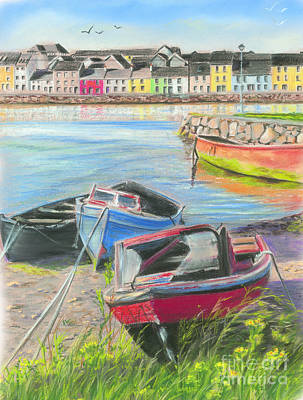 The Long Walk Galway As Viewed From The Claddagh Print by Vanda Luddy