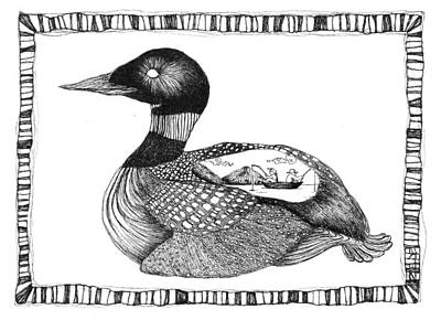The Loon And The Fishermen Print by Zelde Grimm