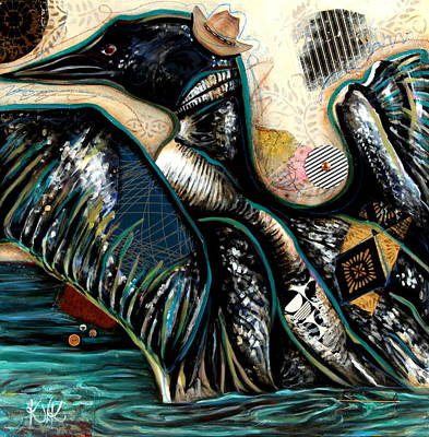 Loon Mixed Media - The Loon by Katia Von Kral