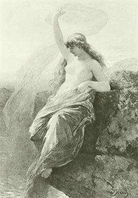Extinct And Mythical Drawing - The Lorelei  by Wilhelm Kray