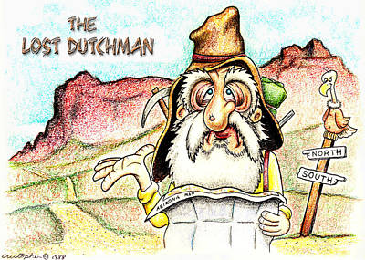 Crayons Drawing - The Lost Dutchman by Cristophers Dream Artistry