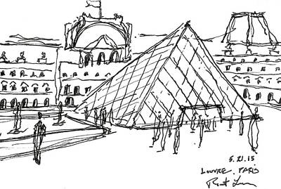 Louvre Drawing - The Louvre by Robert R Lowe III