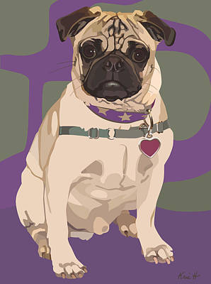 Pet Portrait Digital Art - The Love Pug by Kris Hackleman