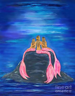 Painting - The Lovely Mermaids by Leslie Allen