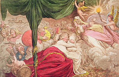Cartoon Drawing - The Lovers Dream by James Gillray