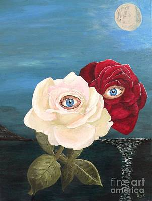 Original featuring the painting The Lovers  Roses By Night by Eric Kempson