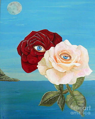 Acrylic On Canvas Painting - The Lovers  Roses by Eric Kempson