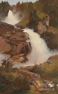 Adolf Painting - The Lower And Middle Krimmler Falls by Celestial Images