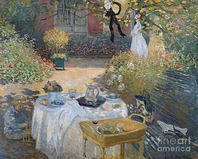 Benches Painting - The Luncheon by Claude Monet