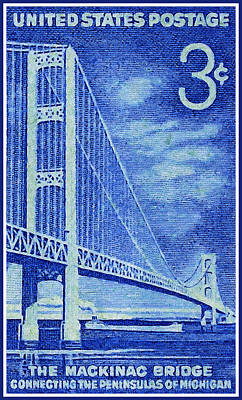 Old Objects Painting - The Mackinac Bridge Stamp by Lanjee Chee