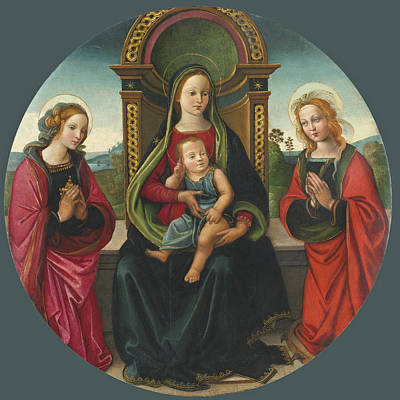 Painting - The Madonna And Child Enthroned With Saints Mary Magdalene And Catherine by Raffaellino del Garbo