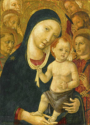Matteo Di Giovanni Painting - The Madonna And Child With Six Saints by Matteo di Giovanni