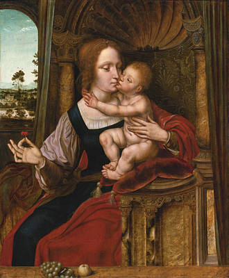 Quentin Matsys Painting - The Madonna Of The Cherries by Quentin Matsys