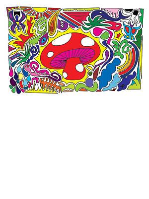 Noir Digital Art - The Magic Mushroom Mushiepower by Paul Telling