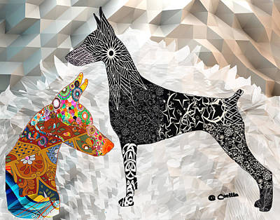 Puppy Mixed Media - The Magnificent Doberman by Maria C Martinez