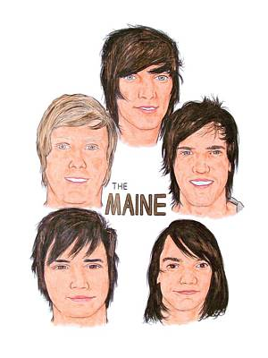 Alternative Rock Band Drawing - The Maine by Michael Dijamco