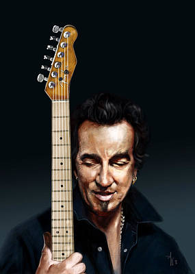 Bruce Springsteen Painting - The Man And His Guitar by Arie Van der Wijst