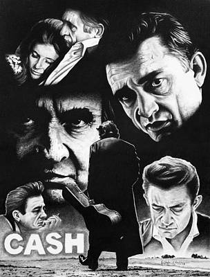 Johnny Cash Drawing - The Man Comes Around by Christopher A Newman