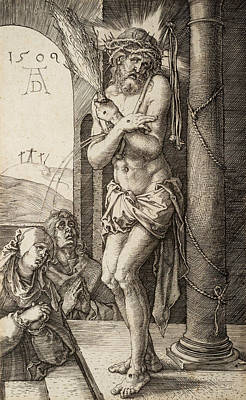 The Man Of Sorrows By The Column With The Virgin And St. John  Print by Albrecht Durer