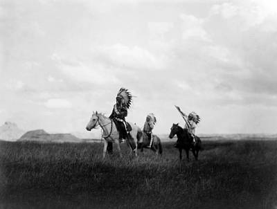 The March Of The Sioux, Three Sioux Print by Everett