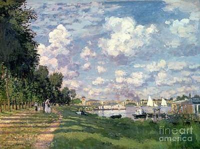 Bank Painting - The Marina At Argenteuil by Claude Monet