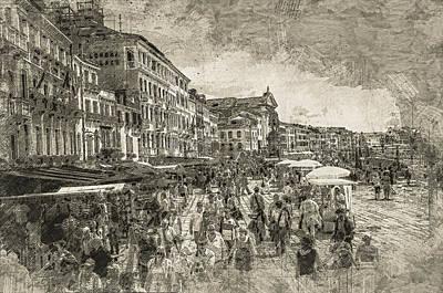 Vintage Digital Art - The Market Place by Georgiana Romanovna